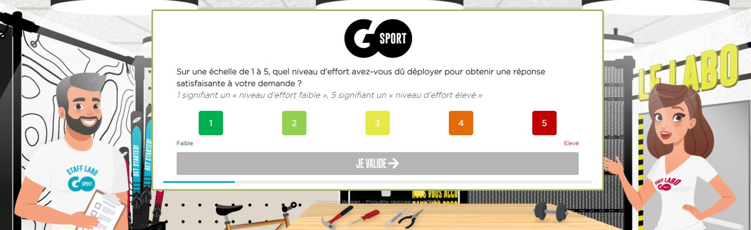 CES Customer Effort Score, exemple d'une questionnaire réalisé pour GO SPORT