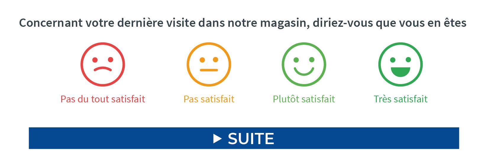 CSAT : montrer un exemple de question mettant en scène des smileys.