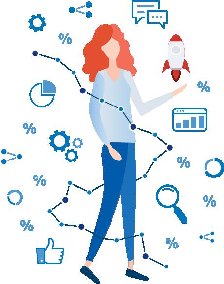 femme montrant les différentes thématiques de la satisfaction Client.